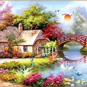 בית כפרי ושקדיה פורחת