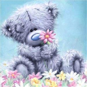 דובי עם פרח ורוד - יהלומים חלקי