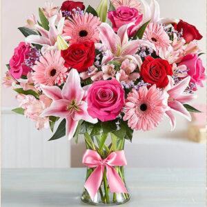 זר פרחים ורוד - יהלומים מלא