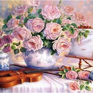 כינור עם פרחים - יהלומים חלקי