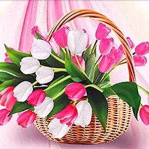 סלסלת פרחים - יהלומים חלקי