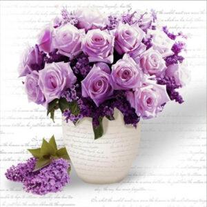 עציץ ורדים סגול - יהלומים חלקי