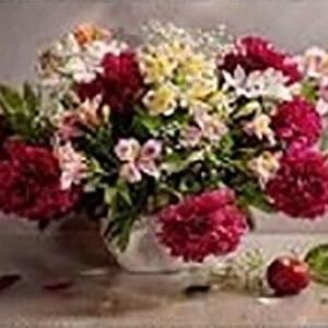 עציץ פרחים אדום - יהלומים חלקי