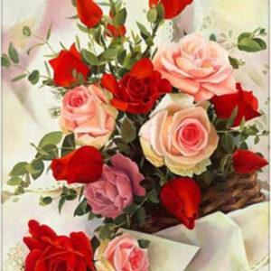 פרחים אדום - יהלומים חלקית