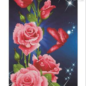 פרחים אורך - יהלומים חלקית