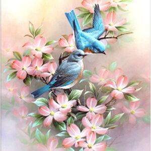 ציפורים ופרחים - יהלומים חלקי