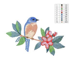 יצירות יהלומים לקטנטנים - ציפור על ענף