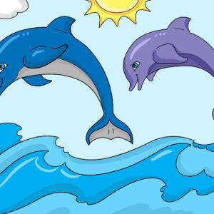 צביעה לפי מספר משחק דולפינים