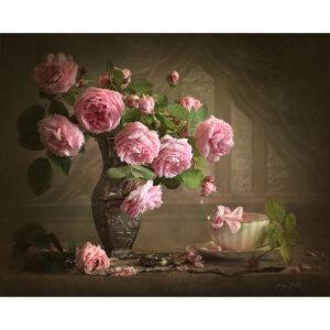 צביעה לפי מספר אגרטל עתיק פרחים וורודים