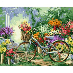 צביעה לפי מספר אופניים בחנות פרחים
