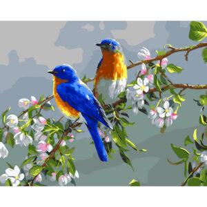 צביעה לפי מספר ציפורים יפהפיות על ענף