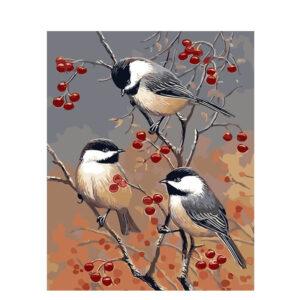 צביעה לפי מספר ציפורים על עץ דובדבן