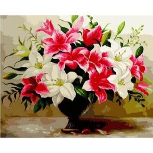 צביעה לפי מספר אגרטל פרחים שחור