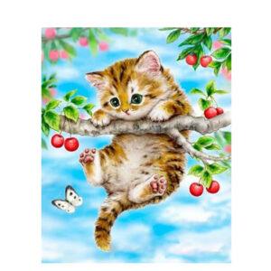 צביעה לפי מספר חתול על עץ
