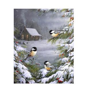 צביעה לפי מספר ציפורים על עץ מושלג