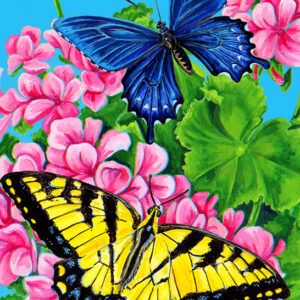 צביעה לפי מספר פרפרים בפרחים
