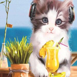 צביעה לפי מספר חתול עם אוזניות