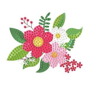 יצירה ביהלומים מדבקה פרחים ורודים